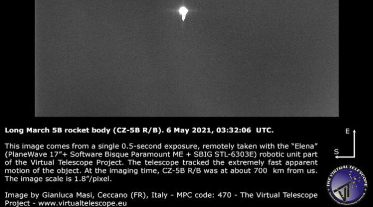 Ecco la prima foto del razzo cinese in cadutaincontrollata verso la Terra – Tgcom24
